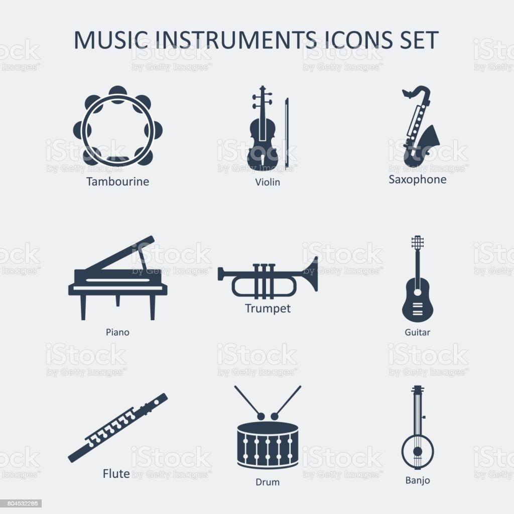 Music instruments icons set. Vector vector art illustration