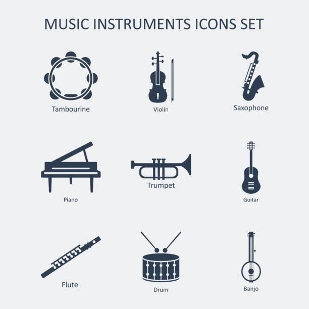bildbanksillustrationer, clip art samt tecknat material och ikoner med musik instrument ikoner set. vektor - flöjt