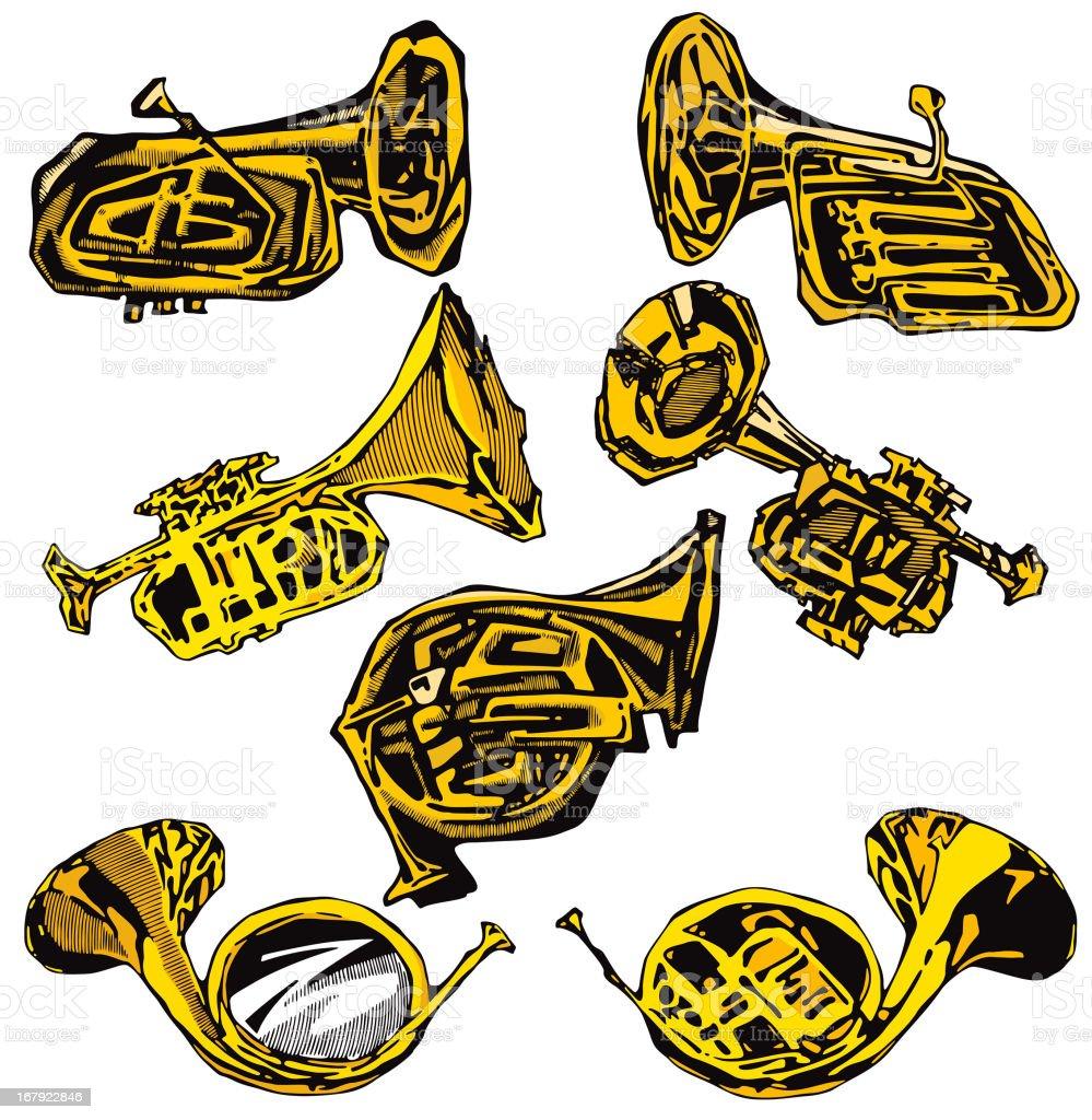 Music Instruments II: Horns (Vector) royalty-free stock vector art