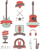 A collection of vintage-style music design elements. Includes a JPG and EPS of each separate item. Both guitars are whole behind the banners.