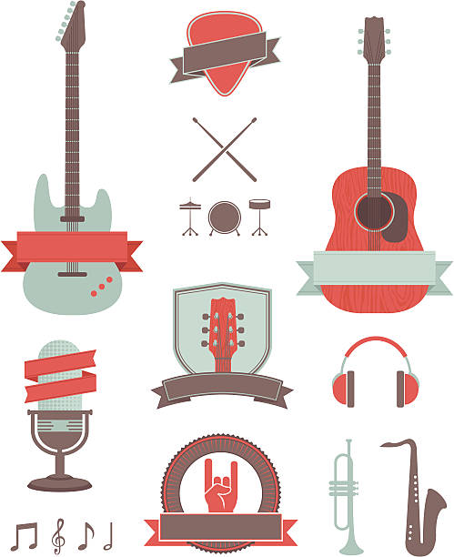 muzyka elementy projektu - talerz perkusyjny stock illustrations