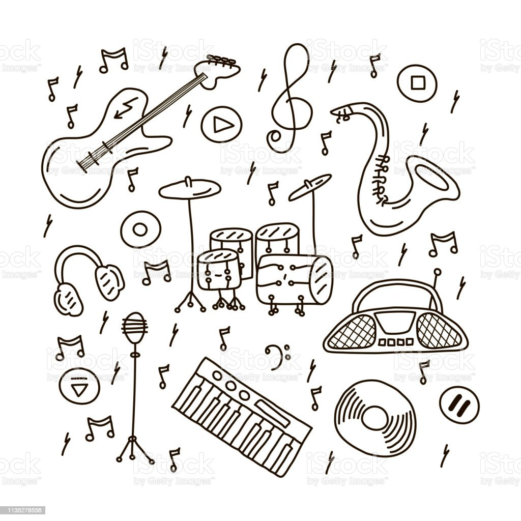 Music instruments in doodle style with saxophone, guitar, musical...