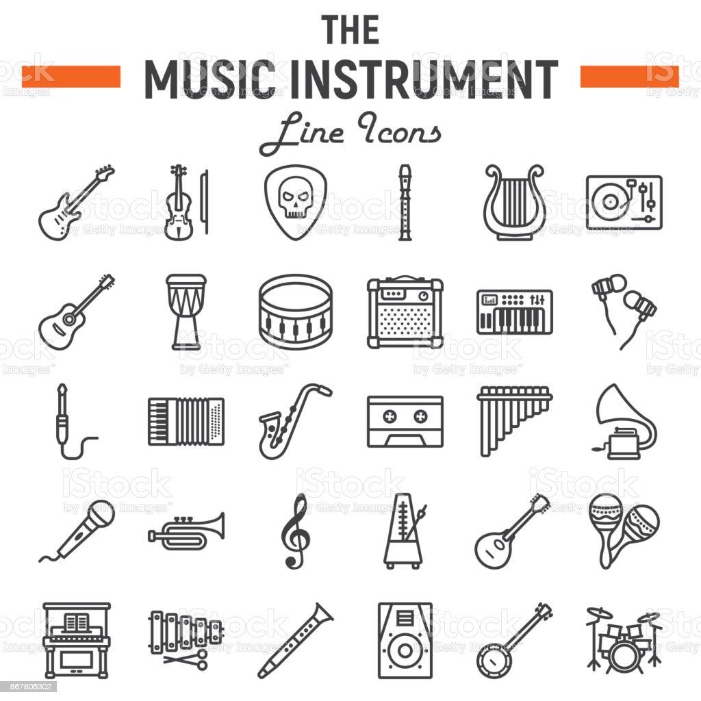 Music Instruments Line Icon Set Audio Symbols Collection Musical