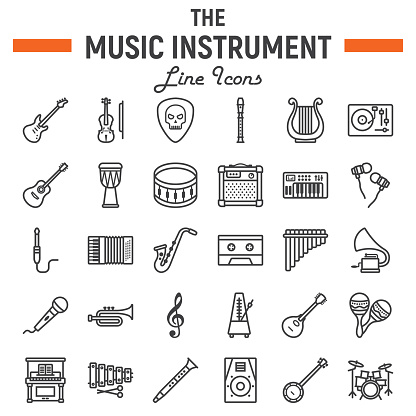 Music instruments line icon set, audio symbols collection, musical tools vector sketches, icon illustrations, signs linear pictograms package isolated on white background, eps 10.