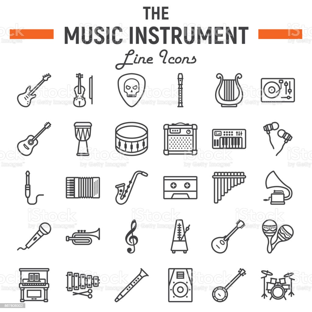 Music instruments line icon set, audio symbols collection, musical tools vector sketches, icon illustrations, signs linear pictograms package isolated on white background, eps 10. vector art illustration