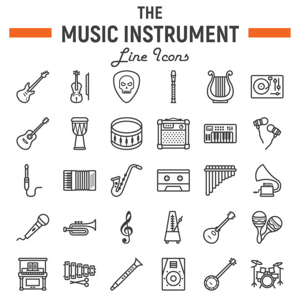music instruments line icon set, audio symbols collection, musical tools vector sketches, icon illustrations, signs linear pictograms package isolated on white background, eps 10. - instrument perkusyjny stock illustrations