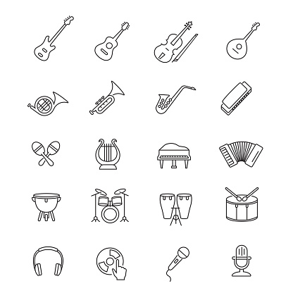 Music instruments line icon set