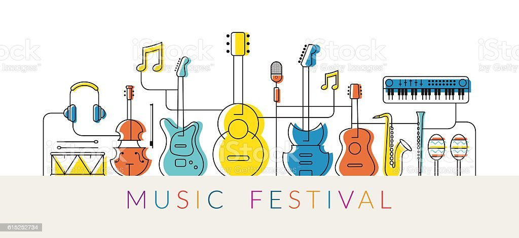 Music Instruments Objects Background, Line Design vector art illustration