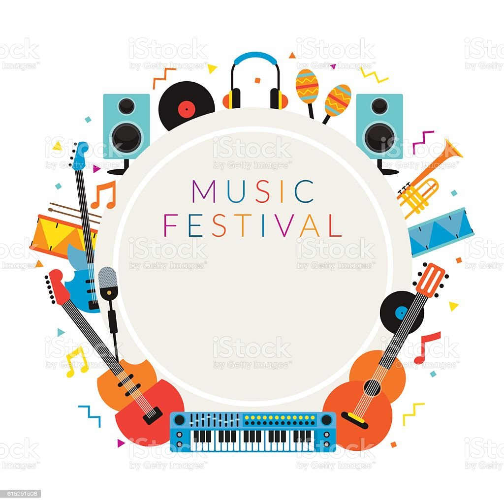 Music Instruments Objects Frame Background Stock Vector Art & More ...