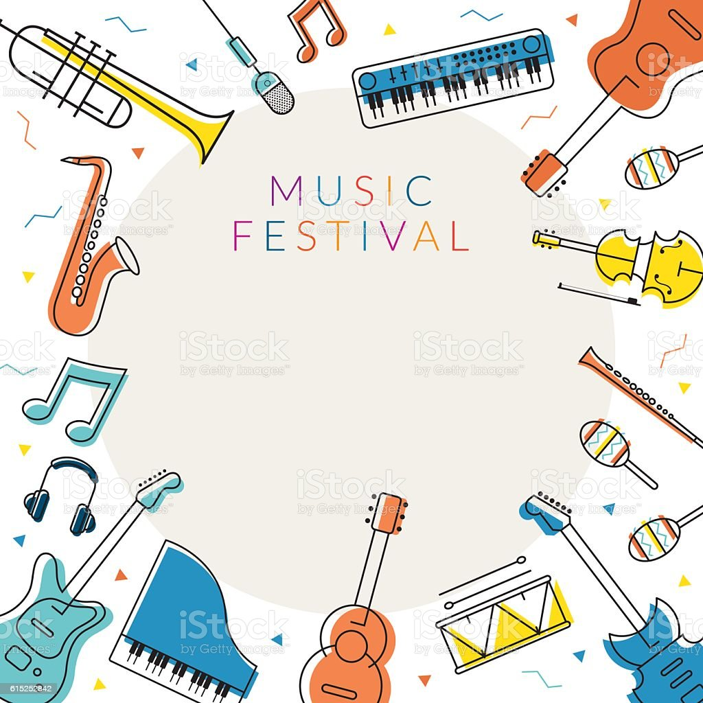Music Instruments Objects Frame Line Design Stock Vector Art & More ...