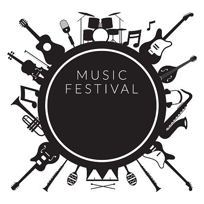 Music Instruments Objects Label Silhouette Background