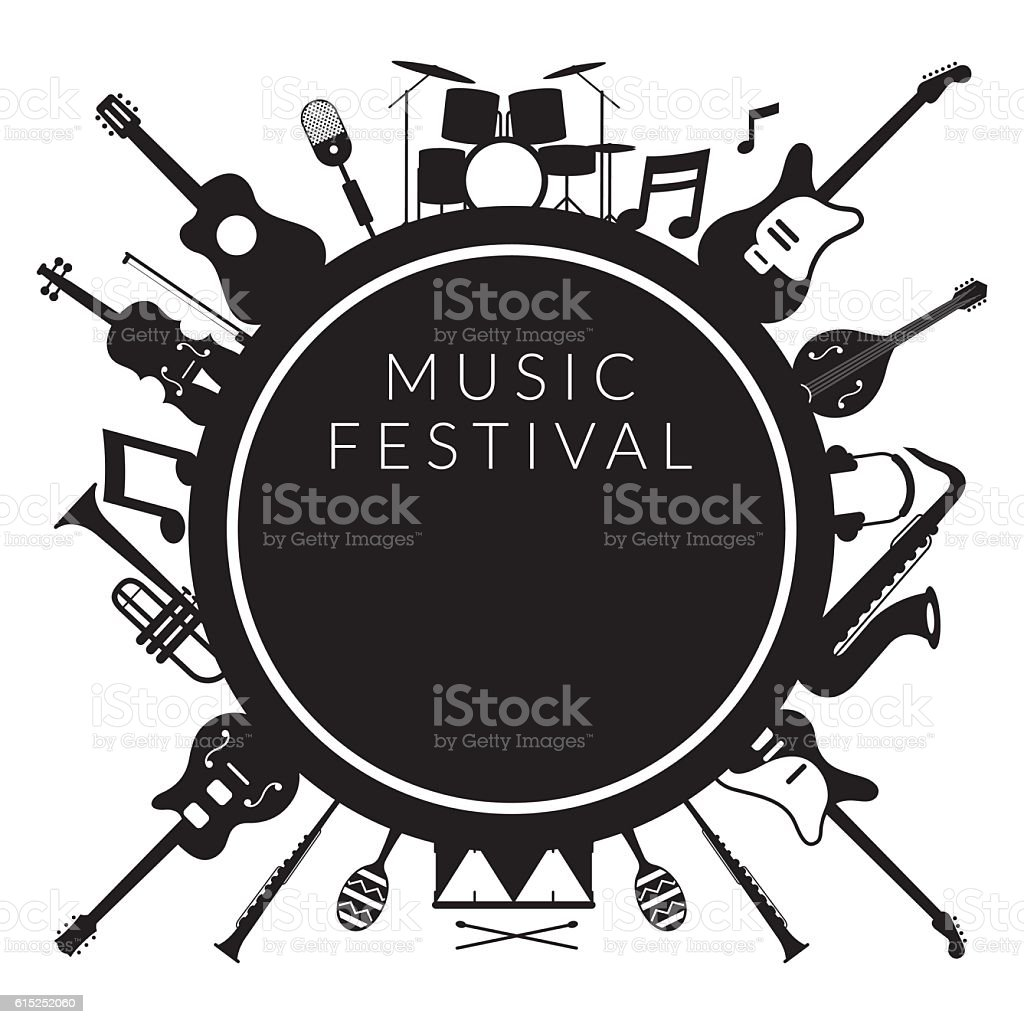 Music Instruments Objects Label Silhouette Background vector art illustration