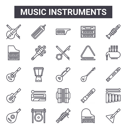 music instruments outline icon set. includes thin line icons such as cello, harpsichord, tanbur, flute, grand piano, keytar, balalaika, erhu. can be used for report, presentation, diagram, web and