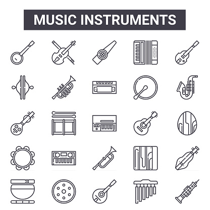 music instruments outline icon set. includes thin line icons such as banjo, cymbals, ukulele, cajon, chimes, kazoo, oboe, harmonica. can be used for report, presentation, diagram, web and mobile