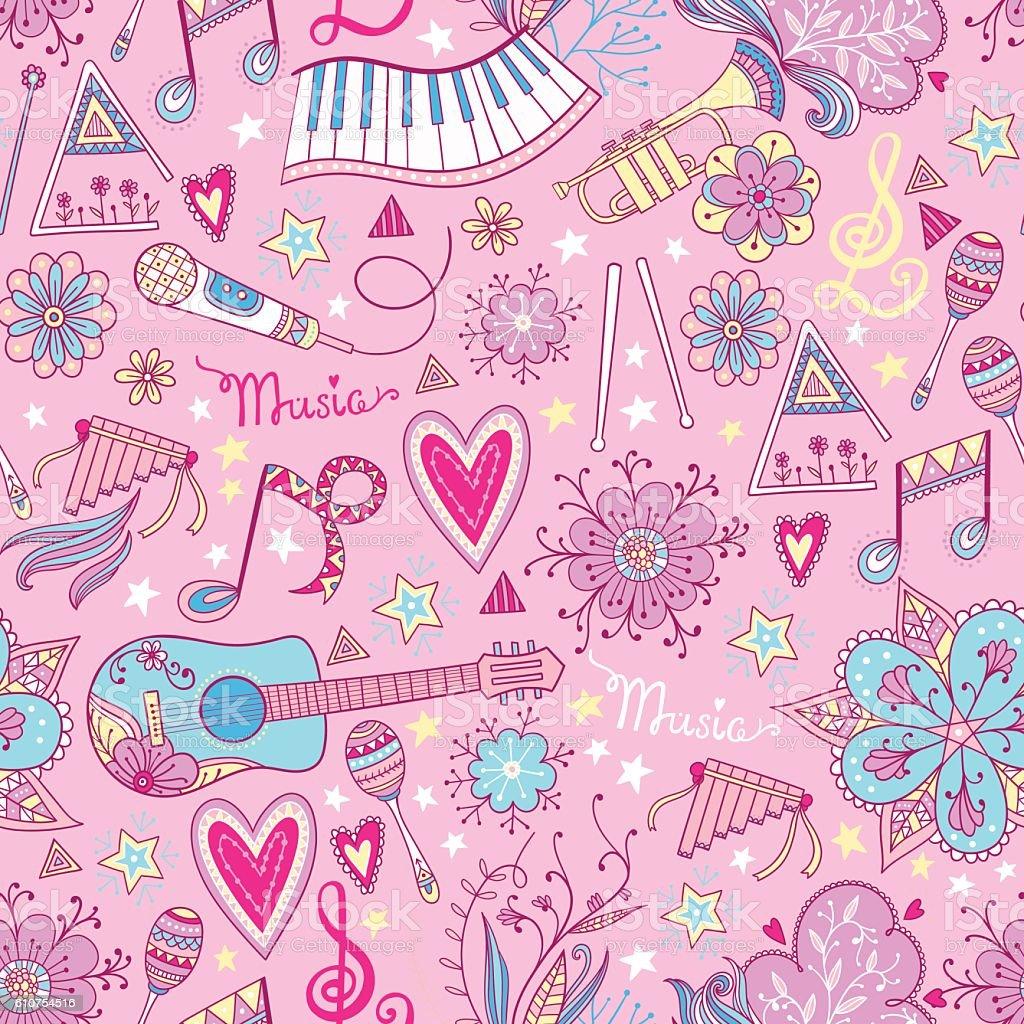 Music instruments pattern background vector art illustration