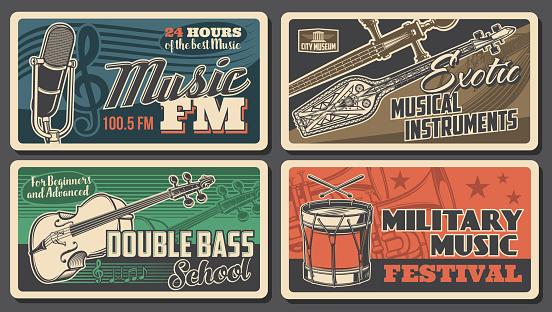 Music instruments posters, concert live festival