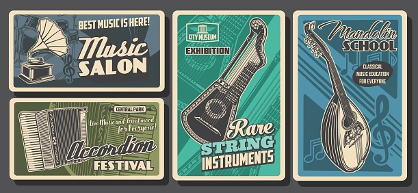 Music instruments posters retro, concert festival