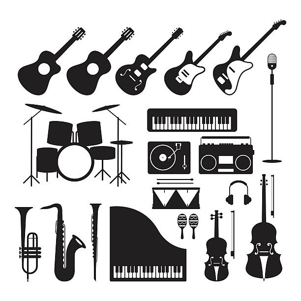 music instruments silhouette objects set - pianino instrument klawiszowy stock illustrations