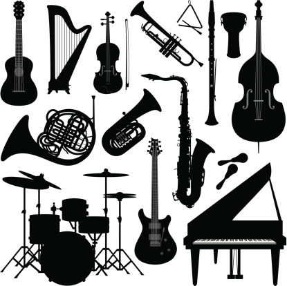 Music instruments silhouette
