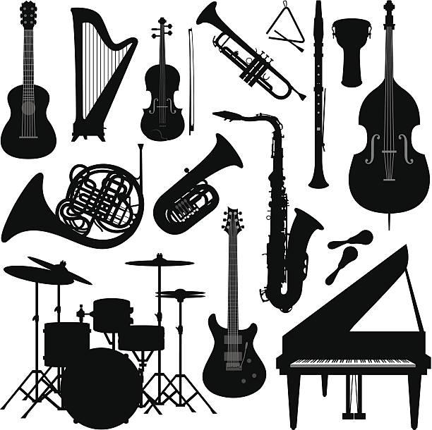 muzyka instrumenty sylwetka - instrument muzyczny stock illustrations