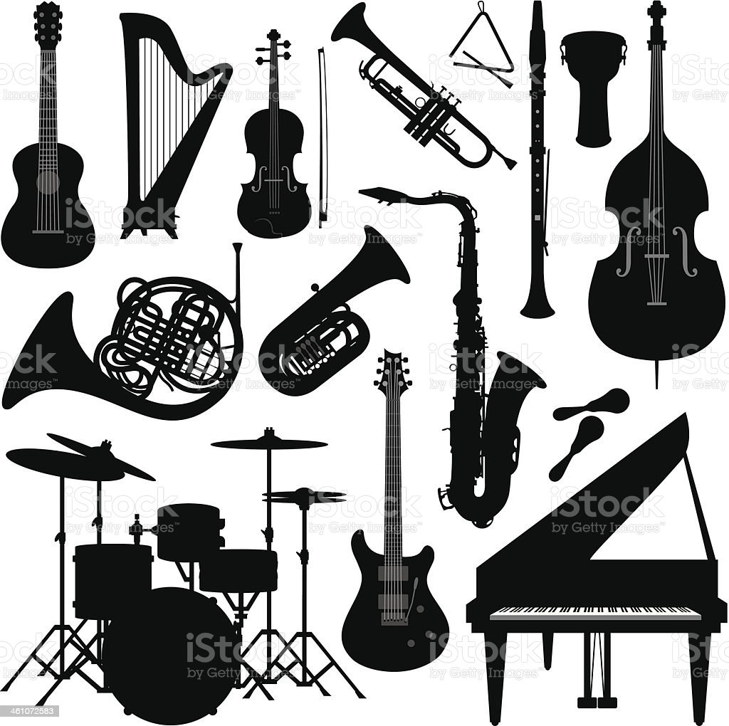 Music instruments silhouette vector art illustration