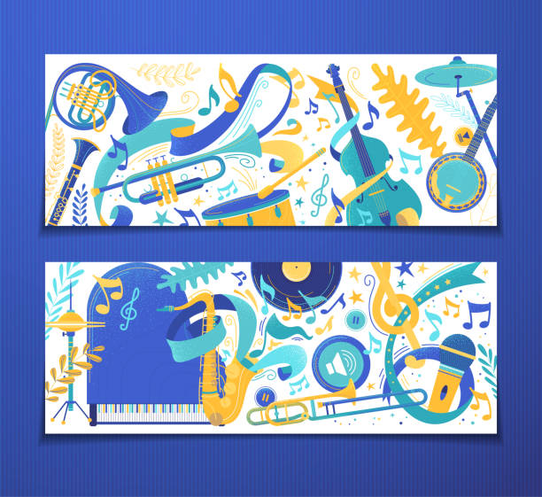music instruments store vector backgrounds set - waltornista stock illustrations