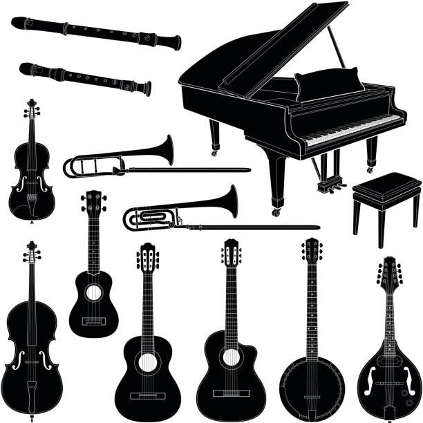 stockillustraties, clipart, cartoons en iconen met muziekinstrumenten - tenor