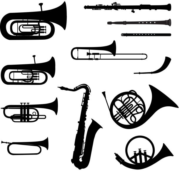 stockillustraties, clipart, cartoons en iconen met music instruments vector set. - blaasinstrument