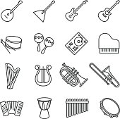 music instruments. vector stock icons set
