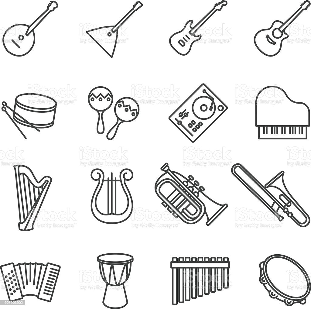 music instruments. vector stock icons set vector art illustration