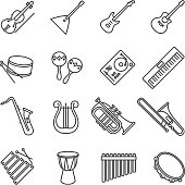 music instruments. vector stock icons