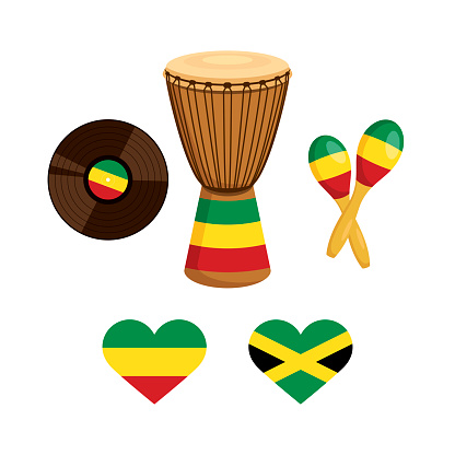 Music instruments with rasta flag icon vector