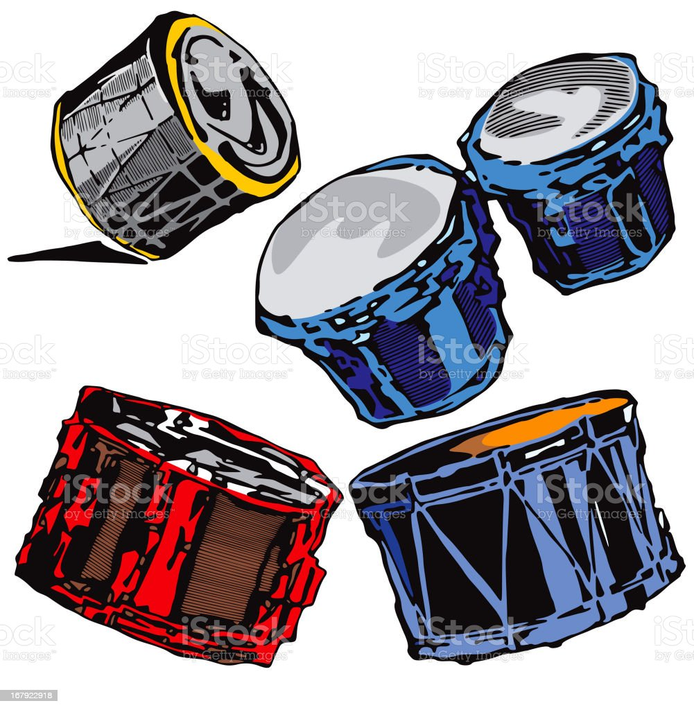 Music Instruments XII: Drums (Vector) vector art illustration