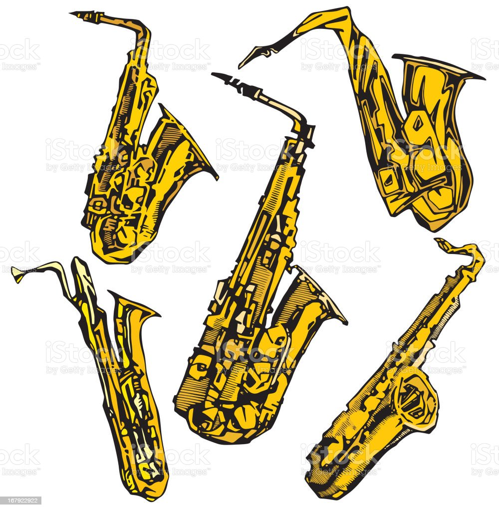 Music Instruments XIII: Saxophones (Vector) royalty-free music instruments xiii saxophones stock vector art & more images of adolescence