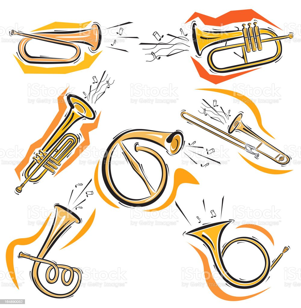 Music Instruments XXI: Horns (Vector) royalty-free music instruments xxi horns stock vector art & more images of adolescence