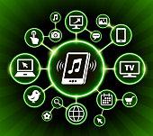 Music Internet Communication Technology Dark Buttons Background