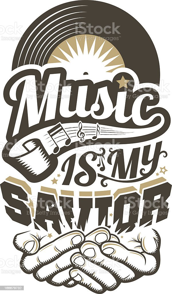 Music is my Savior vector art illustration