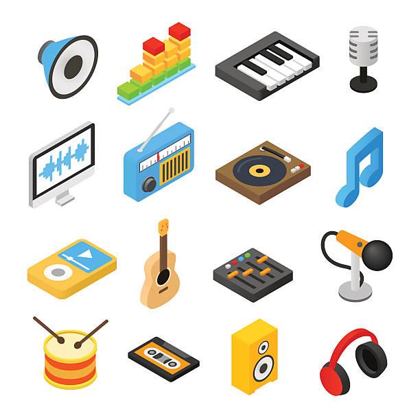 音楽アイソメトリック 3 d アイコン - 楽器点のイラスト素材/クリップアート素材/マンガ素材/アイコン素材