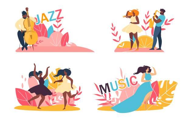 ilustrações de stock, clip art, desenhos animados e ícones de music jazz festival cartoon talented people set - músico