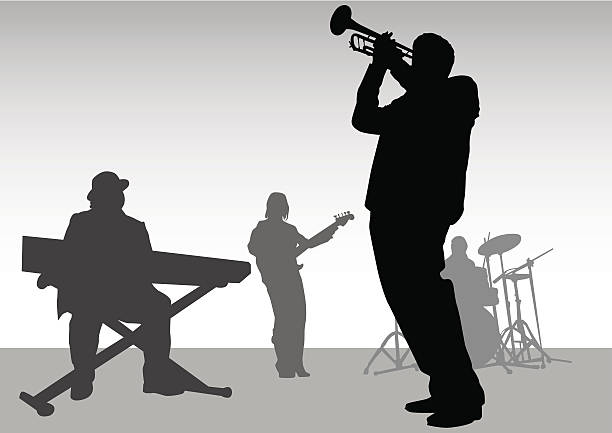 stockillustraties, clipart, cartoons en iconen met music jazz - trompet