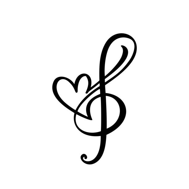 music key and heart abstract hand drawn vector logo and icon. musical theme flat design template. isolated on the white background - harmonia instrument stock illustrations