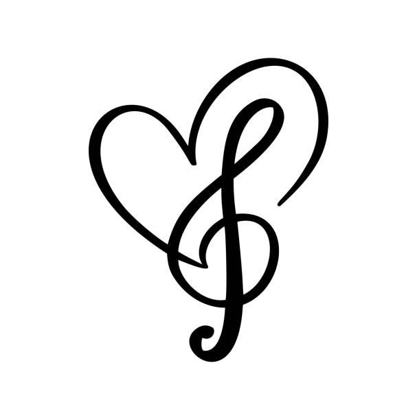 klucz muzyczny i serce abstrakcyjne ręcznie rysowane logo wektora i ikona. muzyczny motyw płaski szablon projektu. odizolowane na białym tle - muzyka stock illustrations