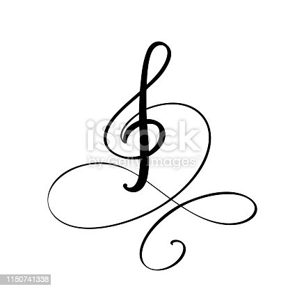 Music key hand drawn vector logo and icon Illustration. Musical theme flat design template. Isolated on the white background.