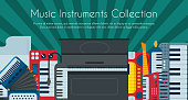 Music keyboard instrument playing synthesizer equipment design vector illustration. Harmony performance entertainment electric piano poster. Instrumental song orchestra guitar.