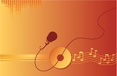 A microphone in front of musical notes, a cd or a record on a red and golden background. Simple gradients.