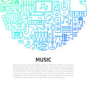 Music Line Concept. Vector Illustration of Outline Template.