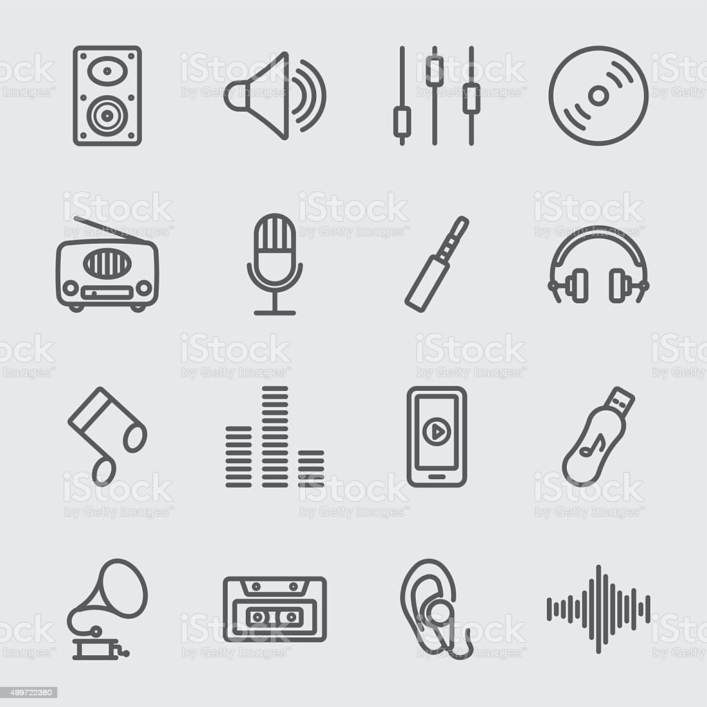 Music line icon vector art illustration