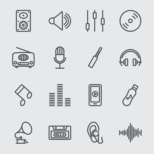 音楽ラインのアイコン - 音楽のアイコン点のイラスト素材/クリップアート素材/マンガ素材/アイコン素材