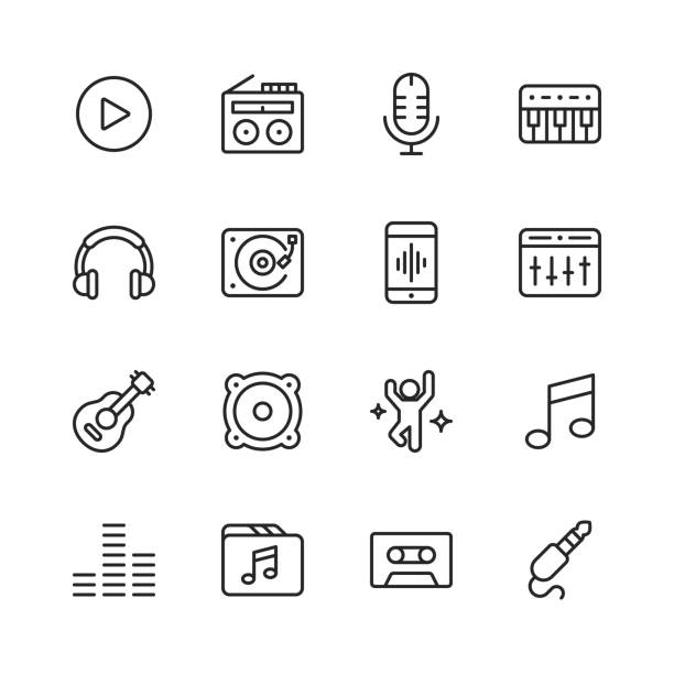 Music Line Icons. Editable Stroke. Pixel Perfect. For Mobile and Web. Contains such icons as Speaker, Audio, Music Player, Music Streaming, Dancing, Party, Piano, Headphones. vector art illustration