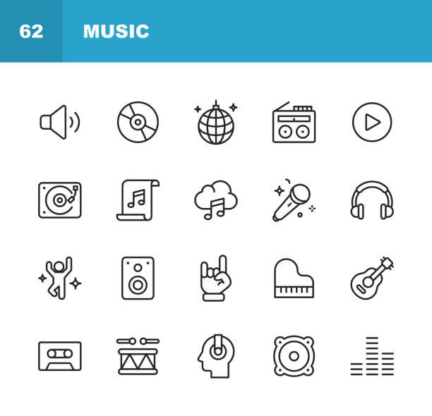 ikony linii muzycznej. edytowalny obrys. pixel perfect. dla urządzeń mobilnych i sieci web. zawiera takie ikony jak głośnik, dźwięk, odtwarzacz muzyki, streaming muzyki, taniec, impreza, fortepian, słuchawki, gitara, radio. - muzyka stock illustrations